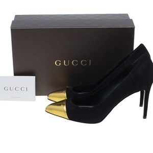 💙GUCCI💙 Black/Navy Suede Pump w/Gold Toe